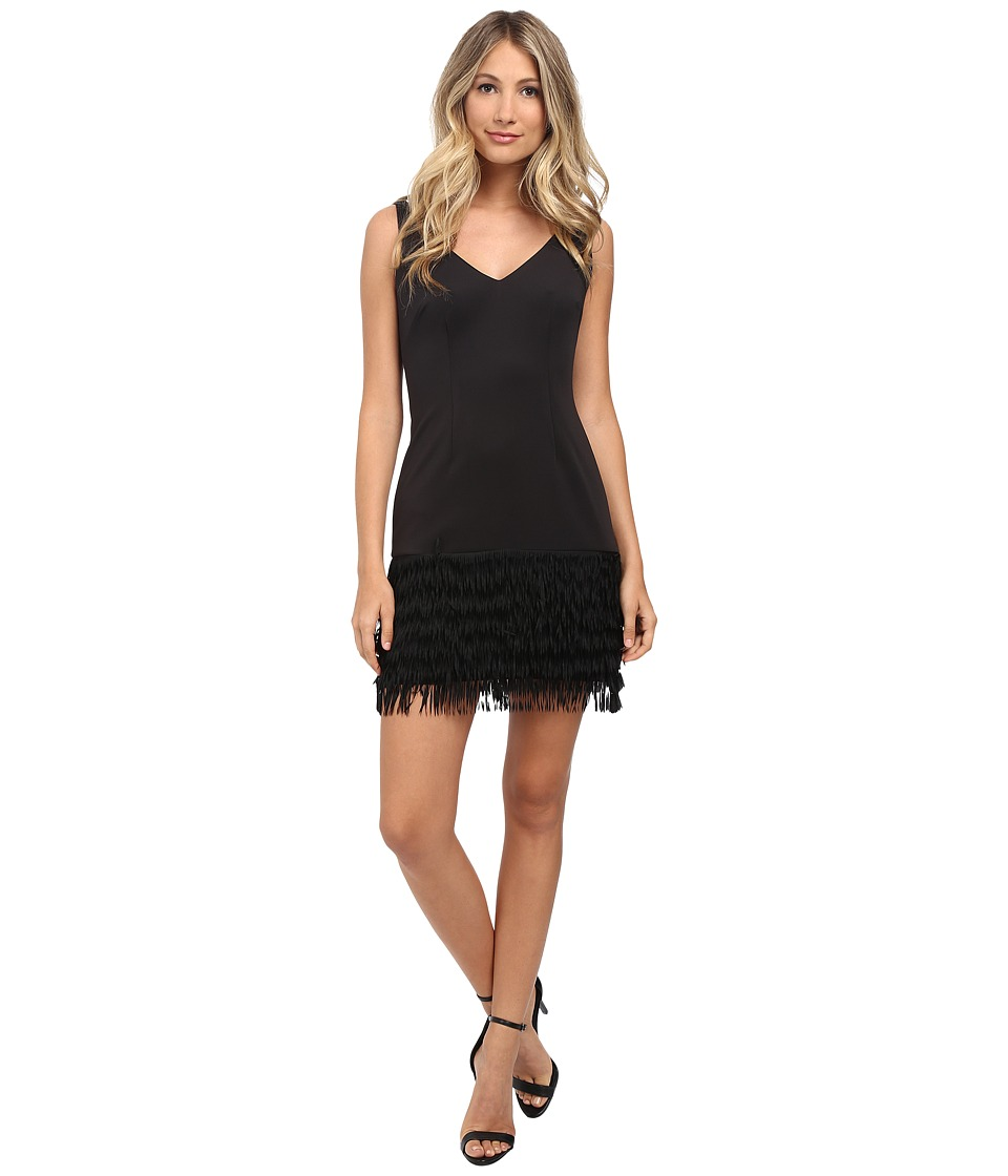 Adrianna Papell Ponte and Shift Fringe Dress Black Womens Dress