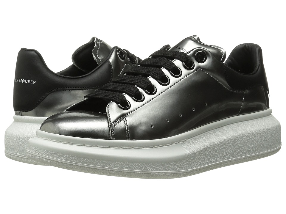 Alexander McQueen Sneaker Pelle S.Gomma Silver/Black Womens Lace up casual Shoes