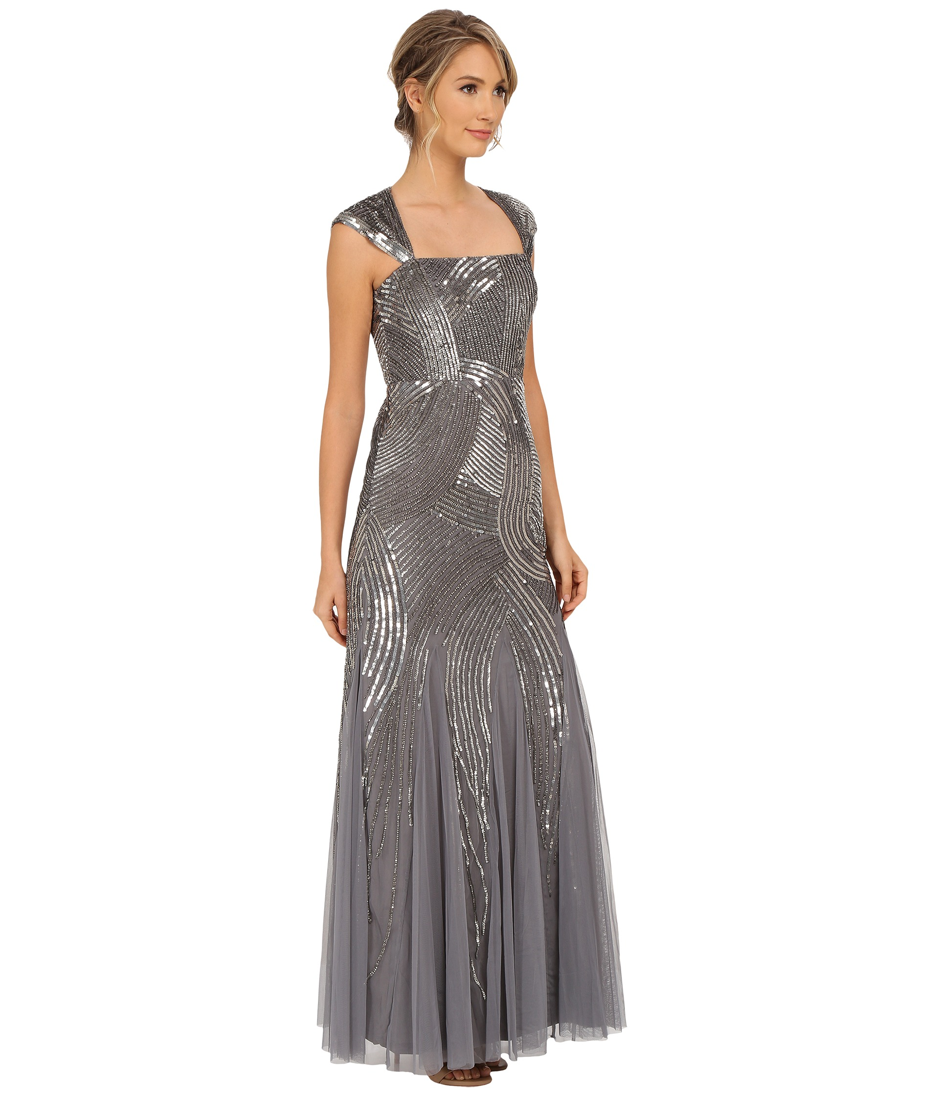 Turmec » adrianna papell beaded one shoulder taffeta dress