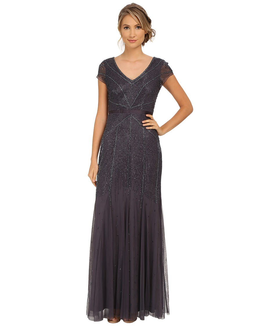Adrianna Papell Beaded Cap Sleeve Gown Gunmetal Womens Dress