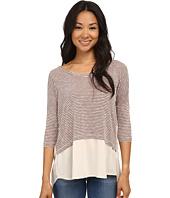Bobeau - Mixed Media Stripe T-Shirt