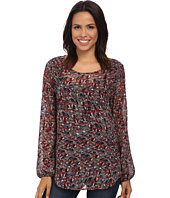 Bobeau - Printed Blouse w/ Shoulder Detail