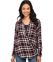 Bobeau - Cross Detail Plaid Blouse