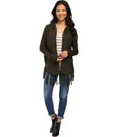 B Collection by Bobeau - Fringe Open Cardi w/ Hood