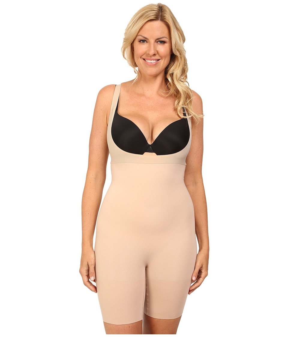 Spanx Plus Size Shape My Day Open Bust Mid Thigh Bodysuit Natural Womens Underwear