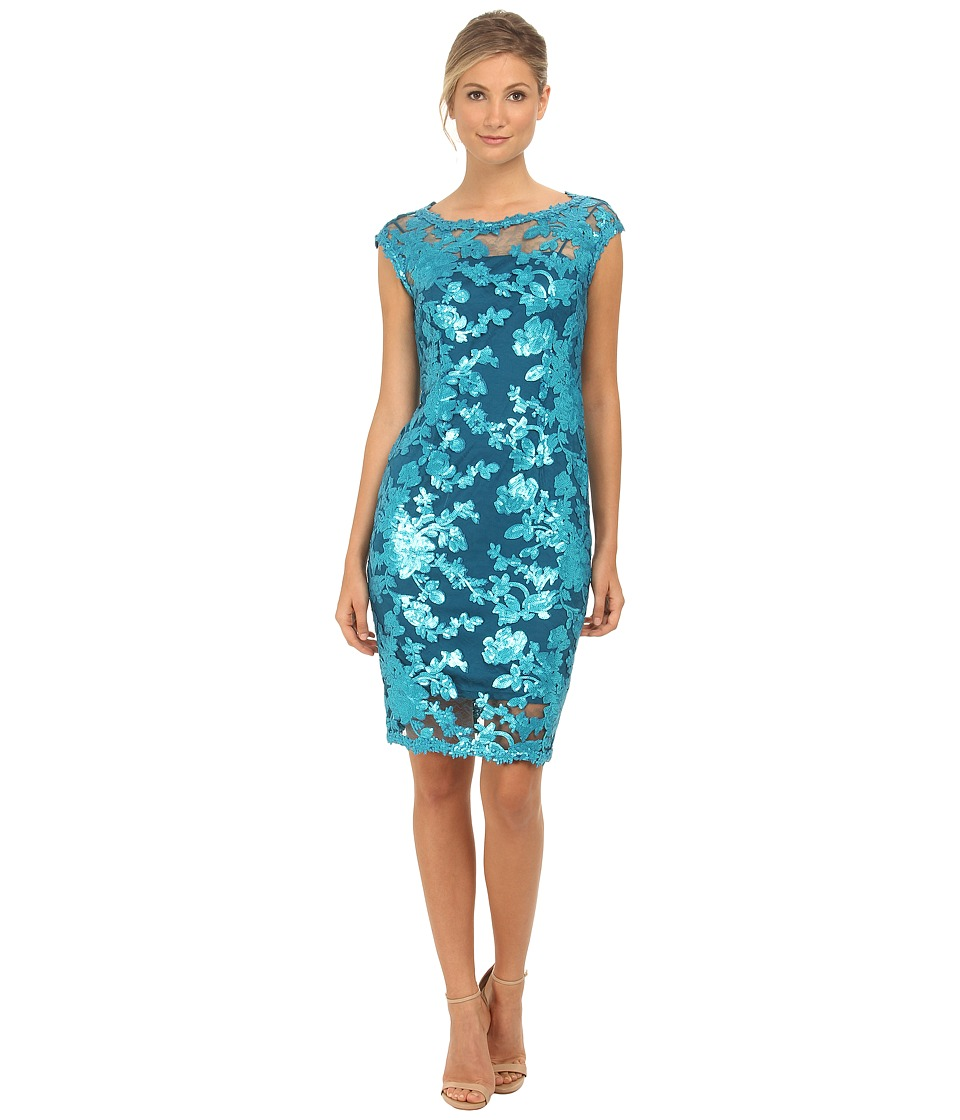 Adrianna Papell Cap Sleeve Illusion Sequin Lace Cocktail Turquish Blue Womens Dress