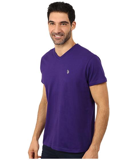 U s polo assn v neck short sleeve t shirt dark violet Us polo collar t shirts