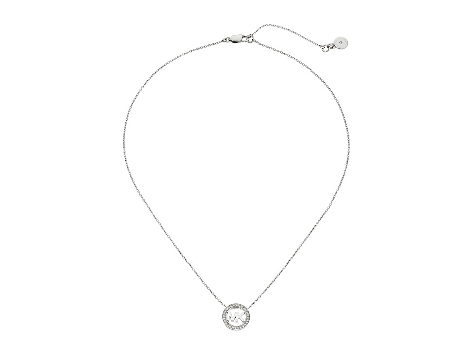 Michael Kors - Logo Pendant - Short Necklace (Silver) Necklace