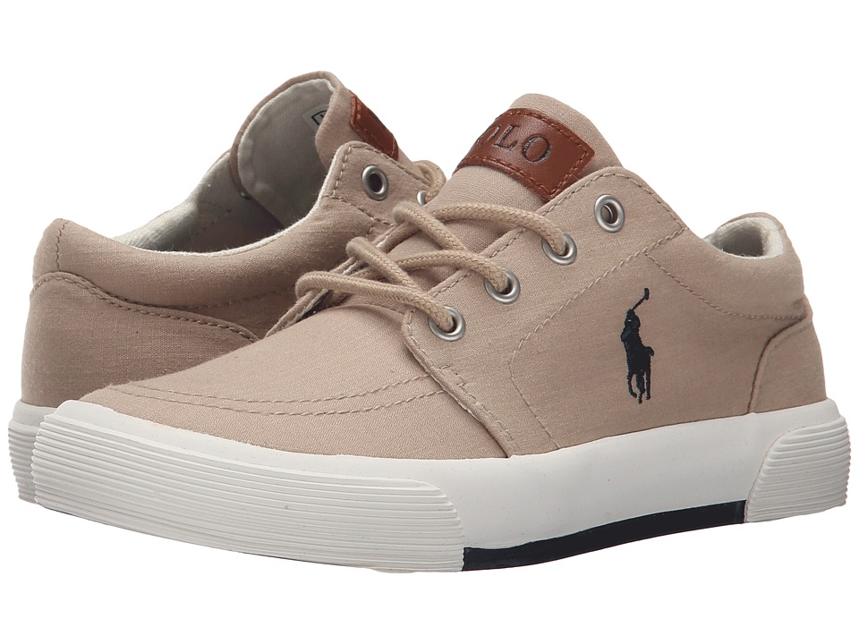 Polo Ralph Lauren Kids Faxon II (Little Kid) (Khaki Heather Canvas/Navy) Kid's Shoes