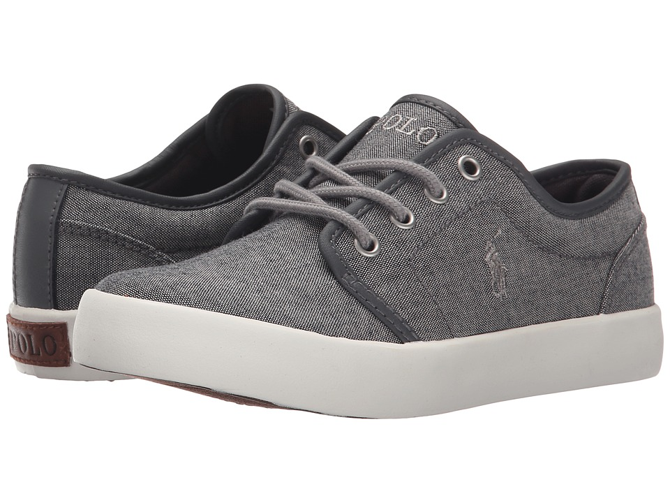 Polo Ralph Lauren Kids Ethan Low Little Kid Grey Chambray/Grey Trim Kids Shoes