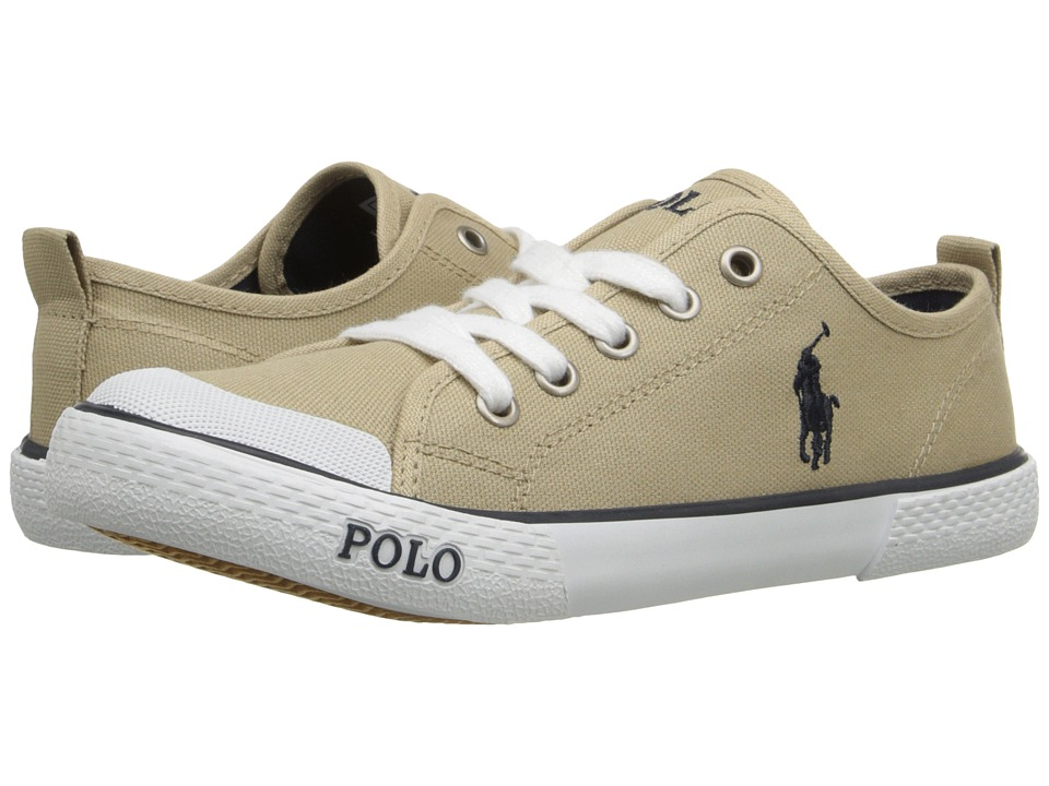Polo Ralph Lauren Kids Carlisle III Little Kid Khaki Canvas/Navy Kids Shoes