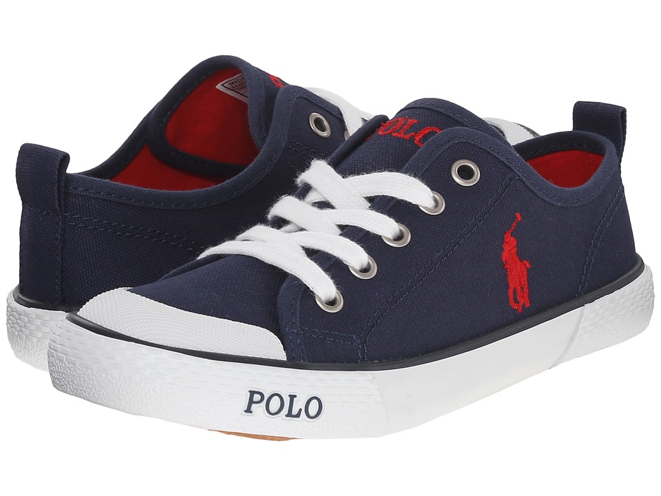 Polo Ralph Lauren Kids Carlisle III Little Kid Navy Canvas/Red Kids Shoes