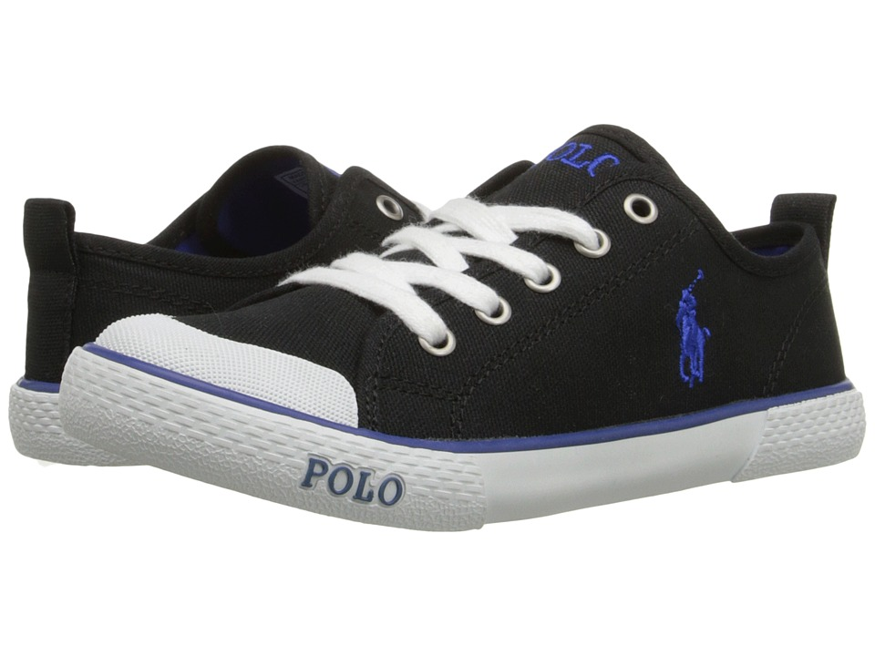 Polo Ralph Lauren Kids Carlisle III Little Kid Black Canvas/Royal Kids Shoes