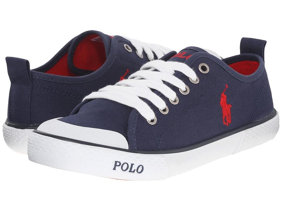 Polo Ralph Lauren Kids Carlisle III Big Kid Navy Canvas/Red Kids Shoes
