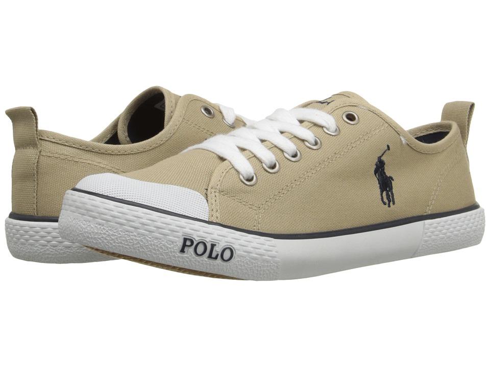 Polo Ralph Lauren Kids Carlisle III Big Kid Khaki Canvas/Navy Kids Shoes