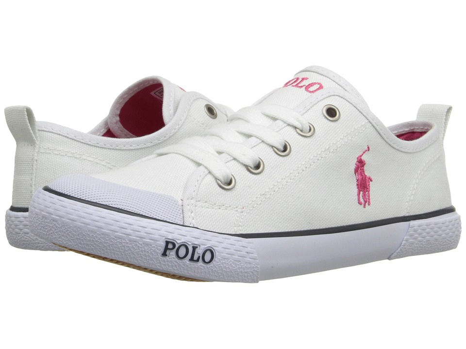 Polo Ralph Lauren Kids Carlisle III Little Kid Bright White Canvas/Pink Girls Shoes
