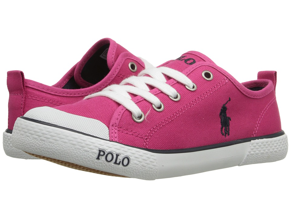 Polo Ralph Lauren Kids Carlisle III Little Kid Ultra Pink Canvas/Navy Girls Shoes