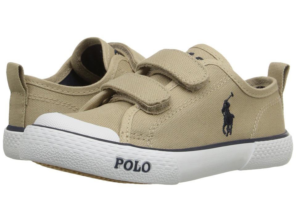 Polo Ralph Lauren Kids Carlisle III EZ Toddler Khaki Canvas/Navy Kids Shoes