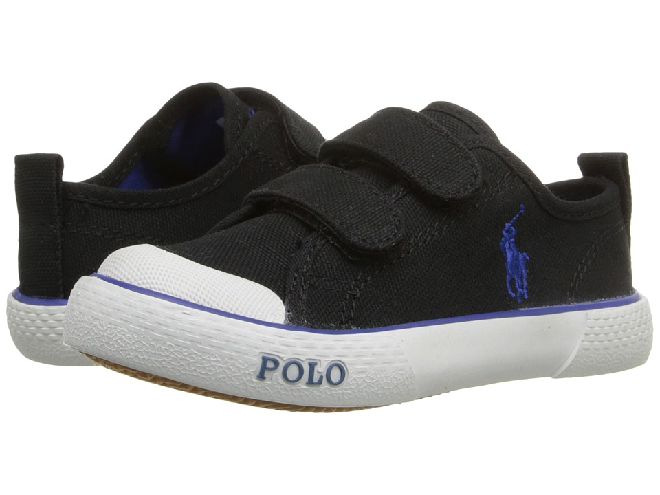 Polo Ralph Lauren Kids Carlisle III EZ Toddler Black Canvas/Royal Kids Shoes