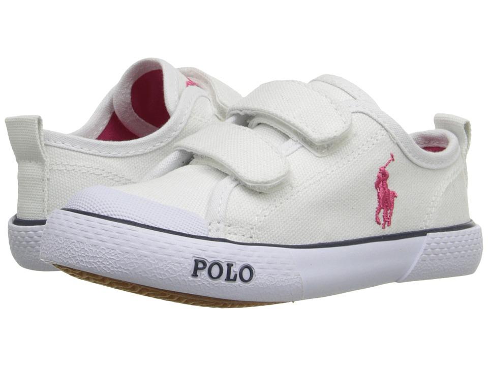 Polo Ralph Lauren Kids Carlisle III EZ Toddler Bright White Canvas/Pink Girls Shoes