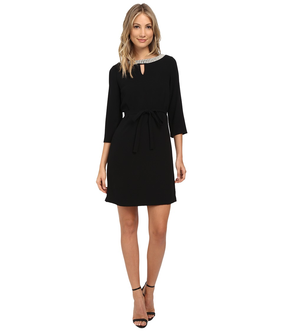Tahari by ASL Pearl Beaded Neckline Dress Black Womens Dress