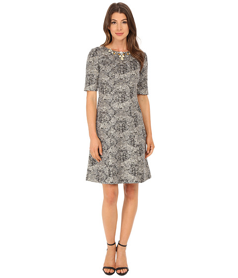 Tahari by ASL Metallic Boucle with Necklace Dress