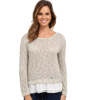 Dylan by True Grit - Slub and Lace Luxe Mesh Sweater