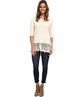 Dylan by True Grit - Softest Slub Waffle Thermal 3/4 Sleeve w/ Vintage Lace