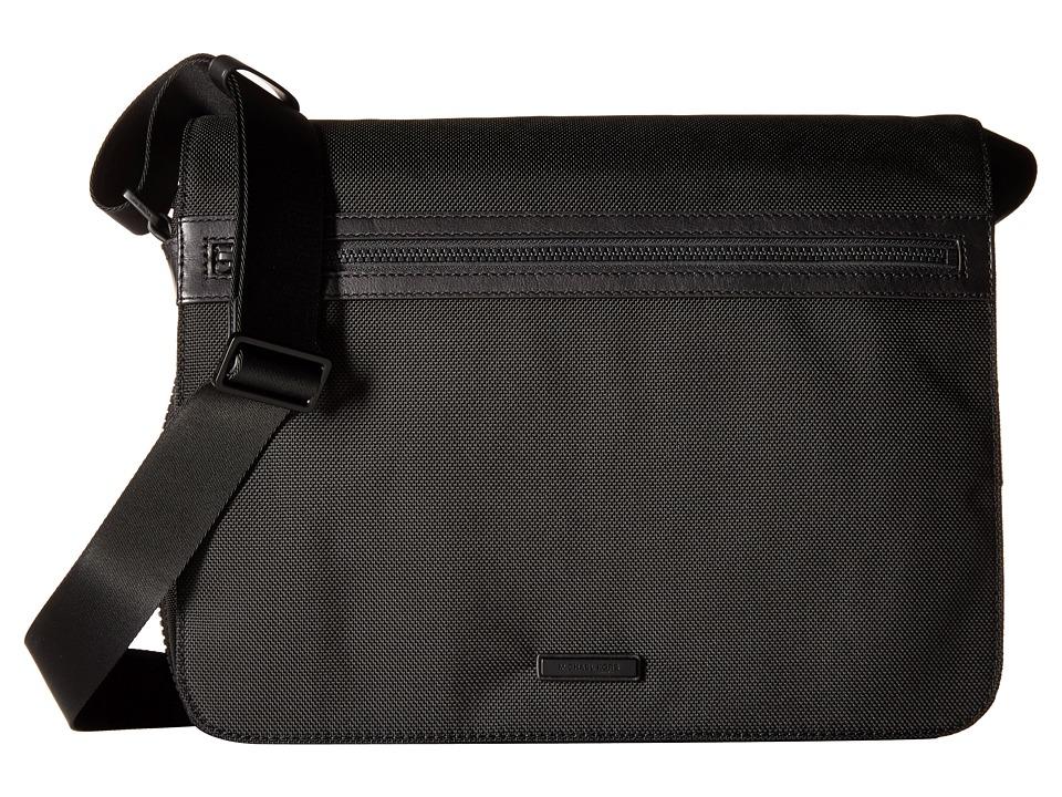 Michael Kors Parker Ballistic Nylon Large Messenger (Black) Messenger Bags