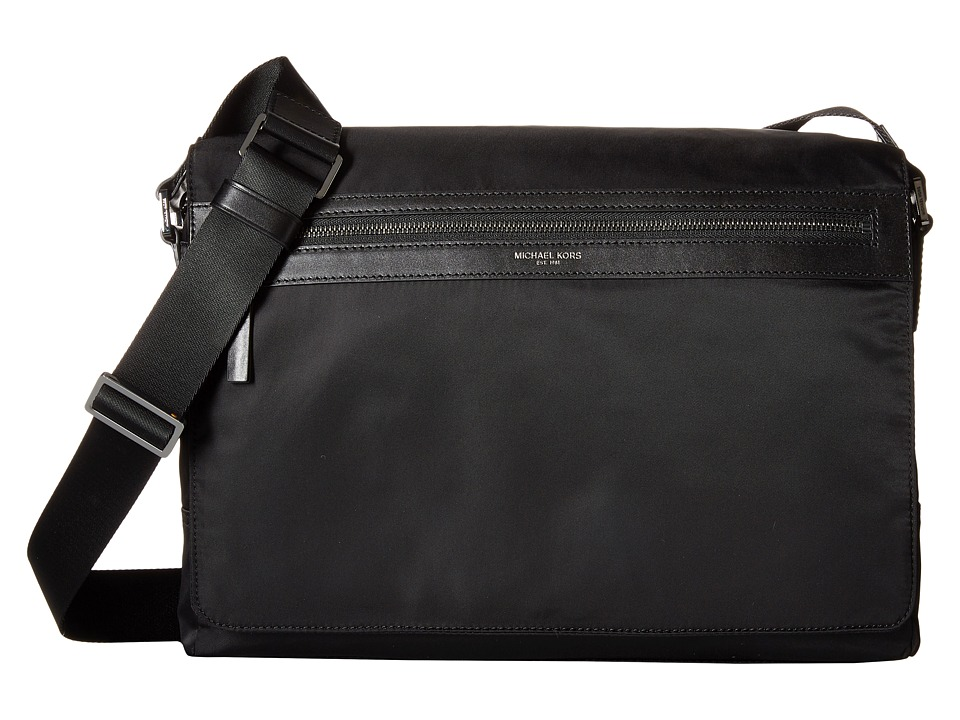 Michael Kors Kent Lightweight Nylon Large Messenger (Black) Messenger Bags
