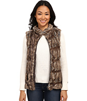 Dylan by True Grit - Fur and Textured Sweater Knit Zip Vest