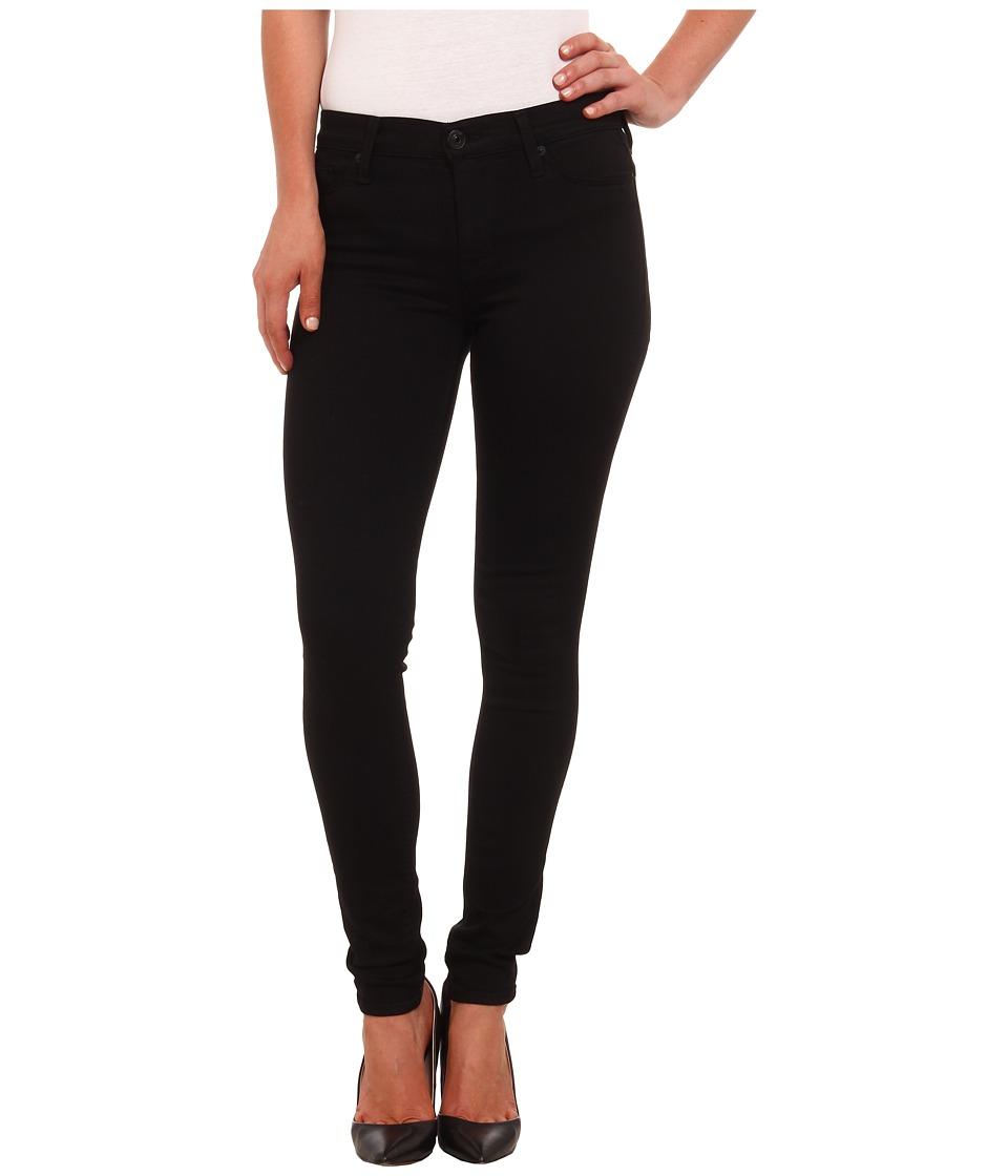 Hudson Nico Mid Rise Super Skinny Jeans in Black Black Womens Jeans