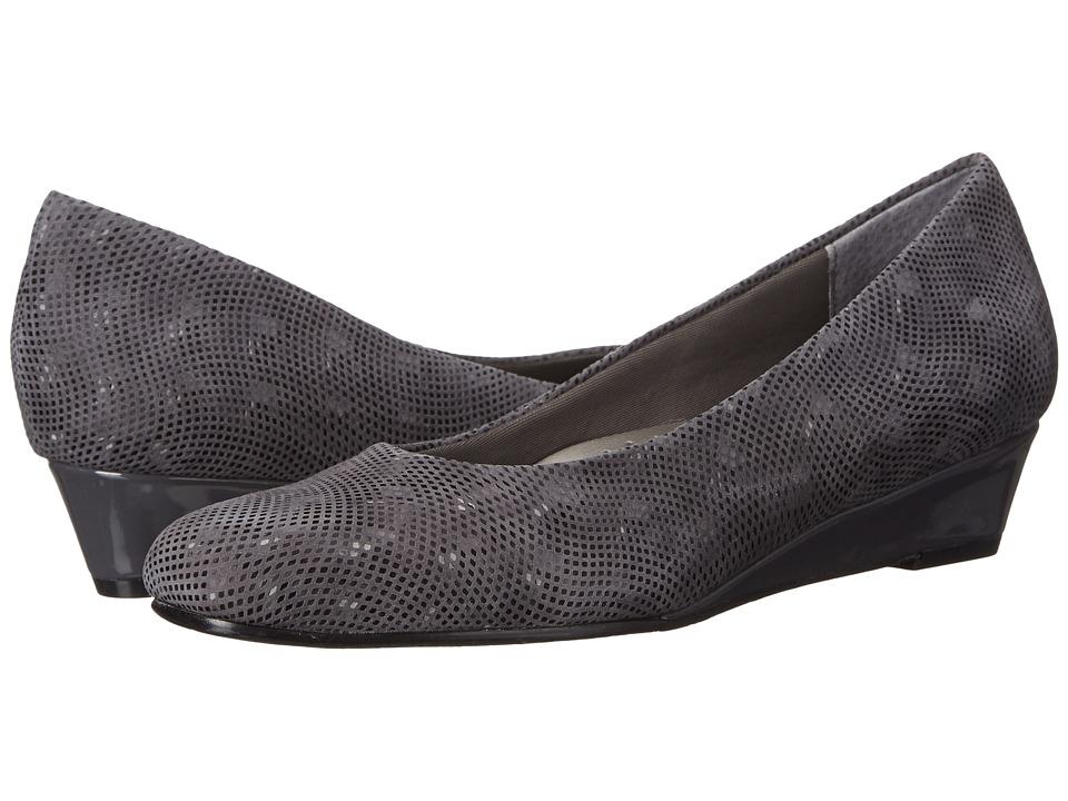 Trotters - Lauren (Dark Grey 3D Patent Suede Leather) Women
