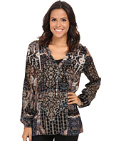Miraclebody Jeans - Diana Pleated Print Blouse w/ Body-Shaping Inner Shell