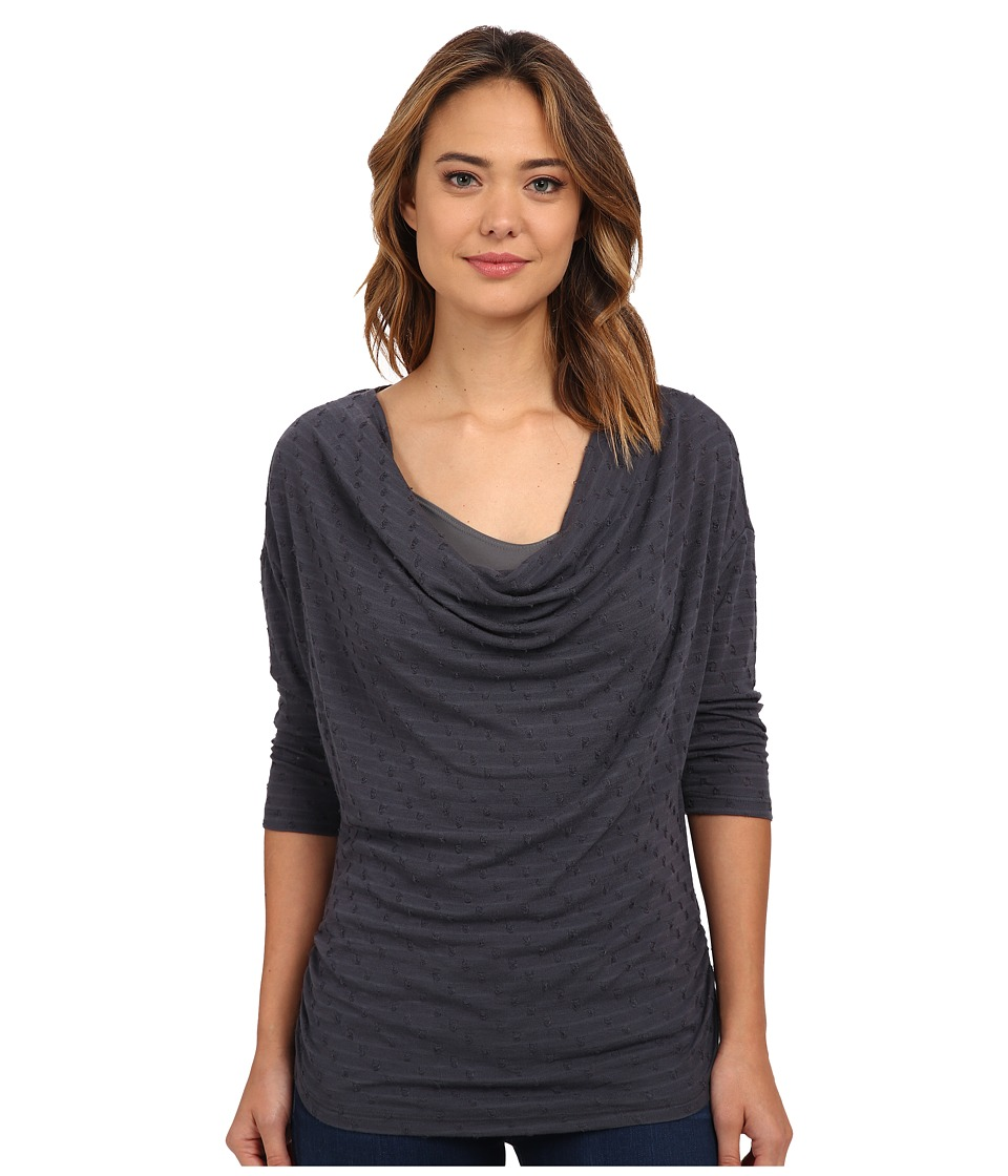 Miraclebody Jeans Dara Drape Neck Top w/ Body Shaping Inner Shell Ash Womens Clothing