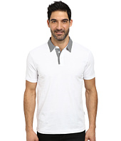 Perry Ellis - Solid Pima Polo with Gingham Collar