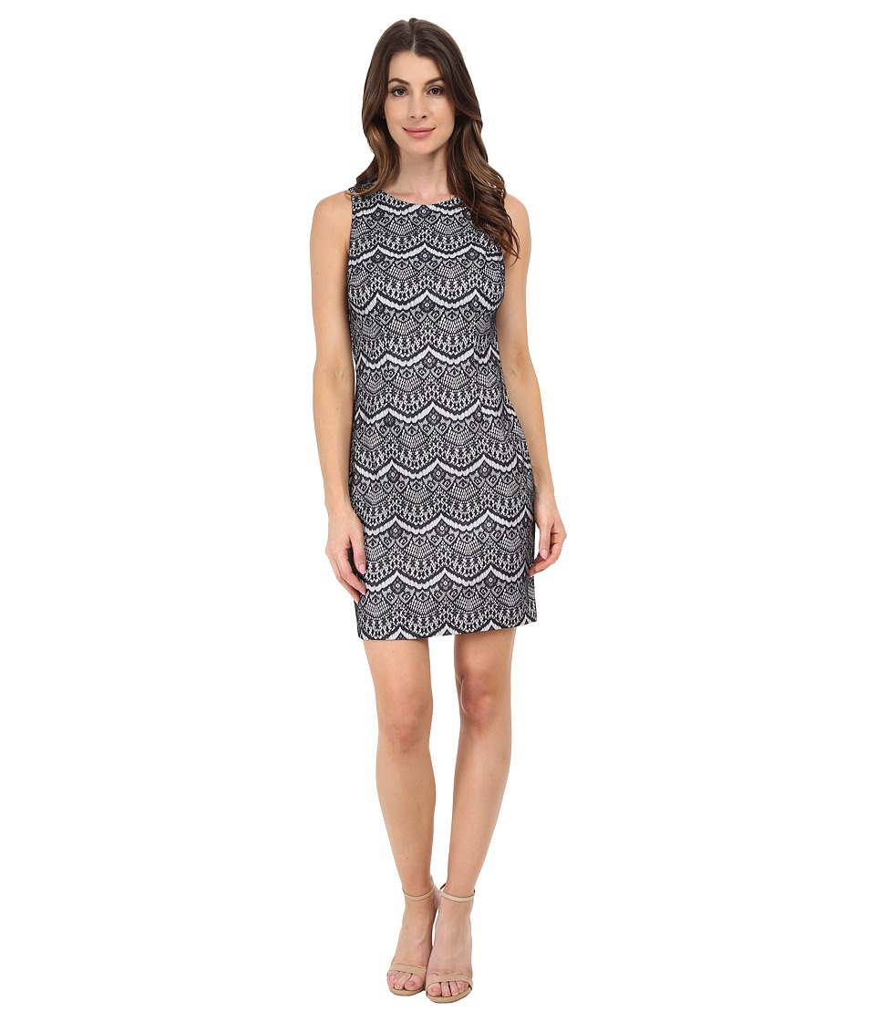 Jessica Simpson - Lace Sheath Dress (Navy/Ivory) Womens Dress