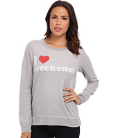 Chaser - I Heart Weekends Crew Neck Long Sleeve Panel Tee