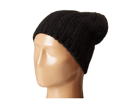 Hat Attack Rib Slouchy Beret - Black