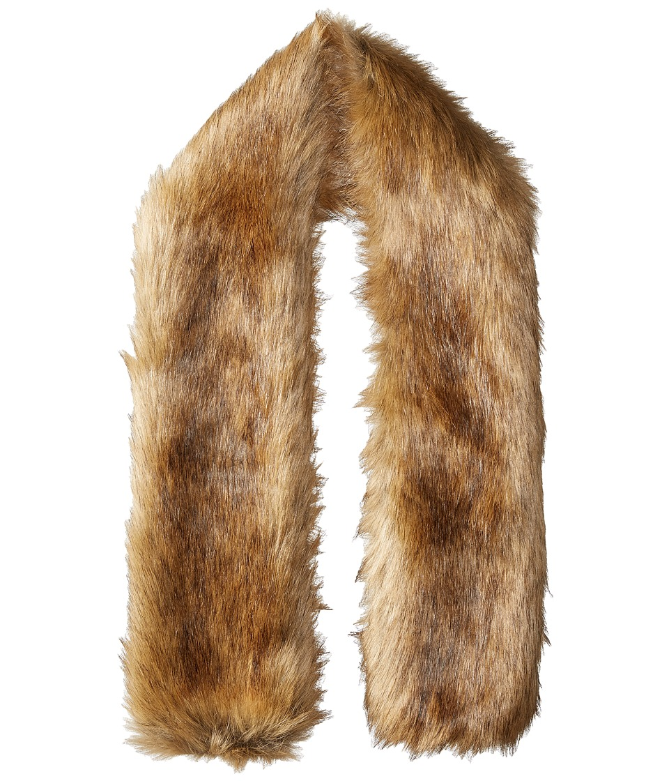 Hat Attack Faux Fur Long Collar Natural Brown Scarves