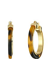 LAUREN Ralph Lauren - Large Tortoise Clickit Hoop Earrings with Metal Inlay