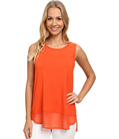 Vince Camuto - Sleeveless Mix Media Top w/ Chiffon Yoke