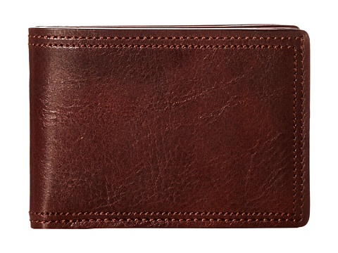 Bosca Dolce Collection - Small Bifold Wallet - Dark Brown