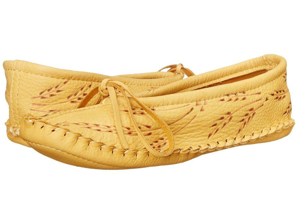 Manitobah Mukluks Deerskin Slipper Wheat Design Tan Womens Slippers