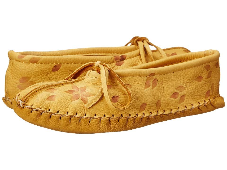 Manitobah Mukluks Deerskin Slipper Floral Design Tan Womens Slippers