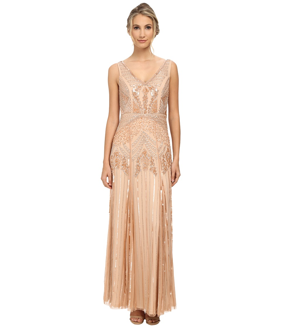 Adrianna Papell - Long Beaded Dress with V-Neck Petal Womens Dress $360.00 AT vintagedancer.com
