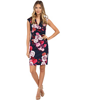 Adrianna Papell - Pleated Side Wrap Printed Sheath Dress