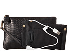 Mighty Purse Stamped Cow Leather Charging Wristlet (Reptile Black)