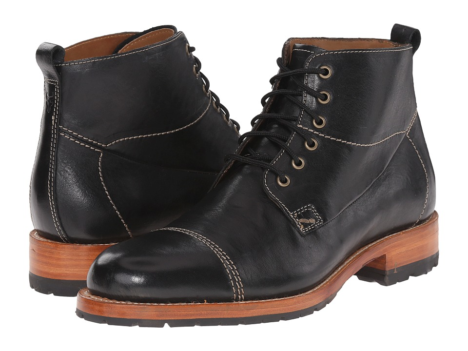 Trask Livingston Black Italian Steer Mens Lace up Boots