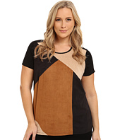 Vince Camuto Plus - Plus Size Color Block Faux Suede Top